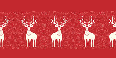 Winter Holidays Vector Seamless Border with White Deers, Hand-Drawn Doodle Swirls, Swashes on Christmas Red Background Illustration