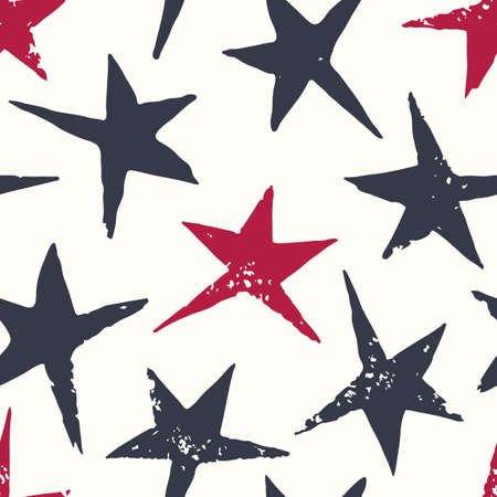 Textured Stamped Linocut Red and Blue Stars on White Background Vector Seamless Pattern