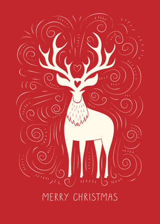 Winter Holidays Vector Gift Card with White Deer, Hand-Drawn Doodle Swirls, Swashes on Christmas Red Background