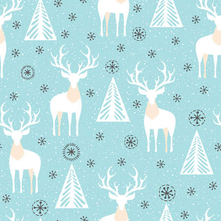 Winter Holidays Vector Seamless Pattern with White Deers, Fir Trees and Snowflakes on Ice Blue Background Illustration