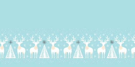 Winter Holidays Vector Seamless Pattern Border with White Deers, Fir Trees and Snowflakes on Ice Blue Background
