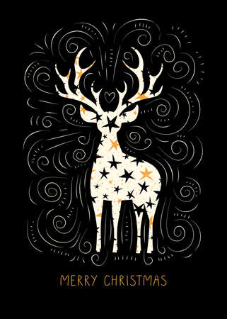 Winter Holidays Christmas Vector Gift Card, White Starry Deers, Hand-Drawn Doodle Swirls, Swashes on Black Background Illustration