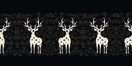 Winter Holidays Vector Seamless Border, White Starry Deers, Hand-Drawn Doodle Swirls, Swashes on Chalk Black Background