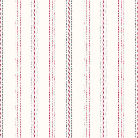 Hand-Drawn Vertical Stripes with Red and Black Embroidery Stitches on White Background Vector Seamless Pattern