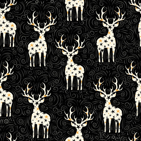 Winter Holidays Vector Seamless Pattern, White Starry Deers, Hand-Drawn Doodle Swirls, Swashes on Chalk Black Background