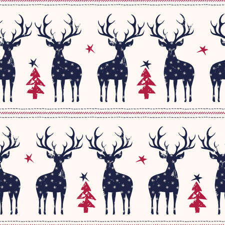Winter Holidays Vector Seamless Pattern, Black Hand-Drawn Deer, Fir Trees, Horizontal Stitch Stripes on White Background