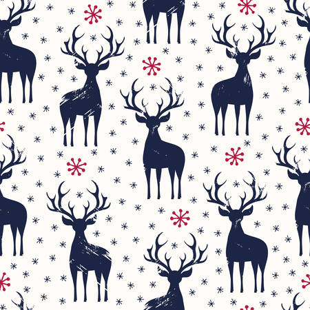 Winter Holidays Vector Seamless Pattern, Black Hand-Drawn Deer and Snowflakes on White Background Illustration