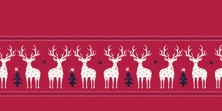 Winter Holidays Vector Seamless Border, White Hand-Stamped Deers, Fir Trees, Horizontal Stitch Stripes on Red Background