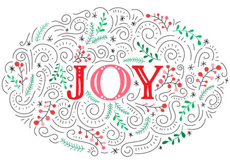 Joy Hand-Drawn Lettering with Doodle Swirls, Winter Holiday Foliage on White Background Illustration