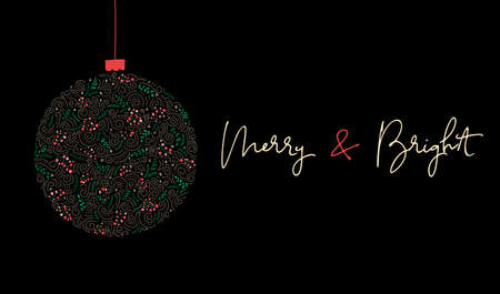 Merry and Bright Calligraphy Script Words and Bauble of Hand-Drawn Doodle Swirls, Winter Holiday Foliage on Black Background. Christmas Festive Horizontal Poster, Banner, Greeting Card, Design Element