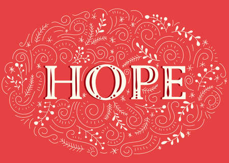 Hope Hand-Drawn Lettering with Doodle Swirls, Winter Holiday Foliage on Christmas Red Background