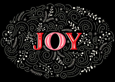 Joy Hand-Drawn Lettering with Doodle Swirls, Winter Holiday Foliage on Black Background