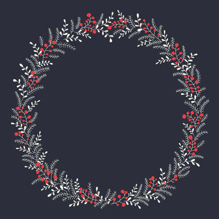 Hand Drawn Abstract Doodle Christmas Foliage, Red Holy Berries, Dark Background Vector Round Frame. Winter Holidays