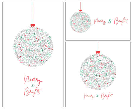 Set of 3 Merry and Bright Calligraphy Script Words with Winter Holiday Bauble, Swirls, Christmas Foliage, White Banners Illustration