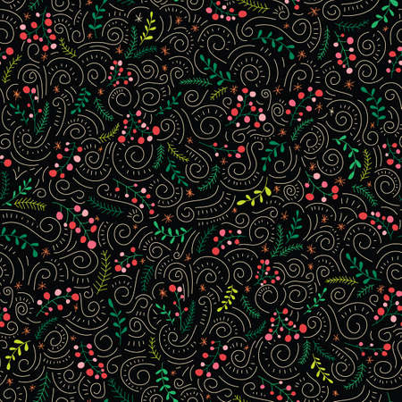 Colorful Folk Doodle Christmas Foliage, Red Holy Berries, Black Background Vector Seamless Pattern. Winter Holiday