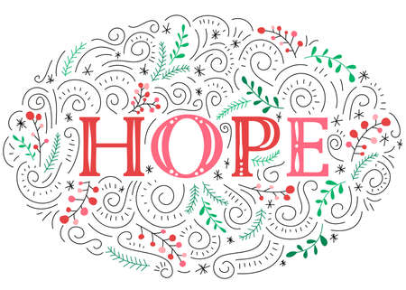 Peace Hand-Drawn Lettering with Doodle Swirls, Winter Holiday Foliage on White Background Stock Vector - 133685829