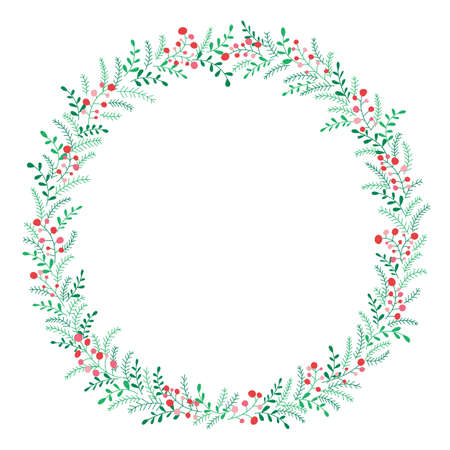 Hand Drawn Abstract Doodle Christmas Foliage, Red Holy Berries, White Background Vector Round Frame. Winter Holidays Stock Vector - 133688310