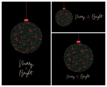Set of 3 Merry and Bright Calligraphy Script Words with Winter Holiday Bauble, Swirls, Christmas Foliage, Black Banners Illustration
