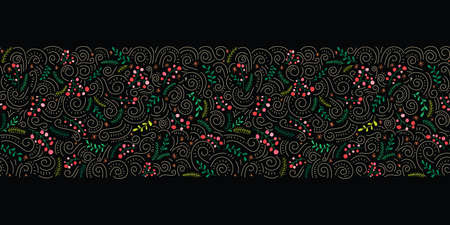 Colorful Folk Doodle Christmas Foliage, Red Holy Berries, Black Background Vector Seamless Border. Winter Holiday