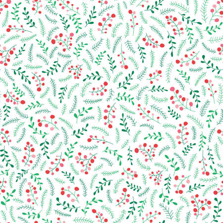 Hand Drawn Abstract Doodle Christmas Foliage, Red Holy Berries, White Background Vector Seamless Pattern. Winter Holiday