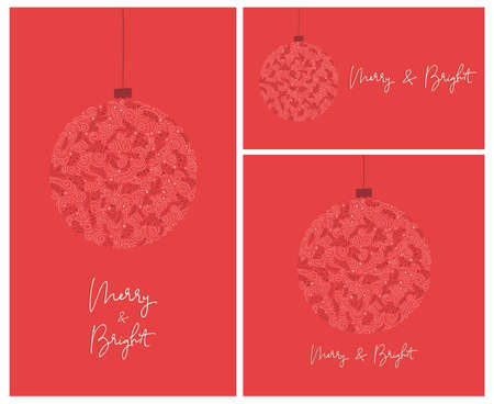 Set of 3 Merry and Bright Calligraphy Script Words with Winter Holiday Bauble, Swirls, Christmas Foliage, REd Banners Illustration