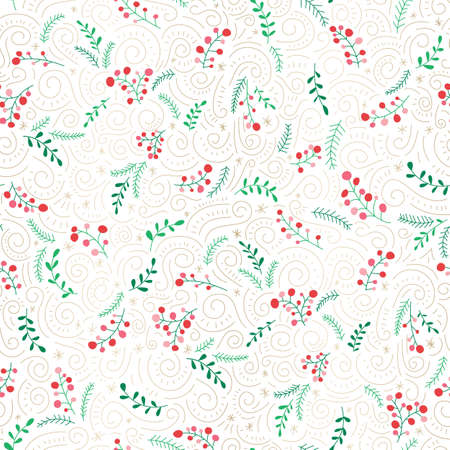 Colorful Doodle Christmas Foliage, Red Berries, Gold Swirls on White Background Vector Seamless Pattern. Winter Holiday
