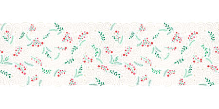 Hand Drawn Colorful Doodle Christmas Foliage, Red Holy Berries, Mistletoe, Fir Tree, Gold Swirls on White Background Vector Seamless Horizontal Border. Trendy Cute Festive Winter Holidays Pattern