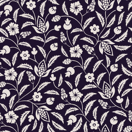 Monochrome Traditional Chintz Floral Vector Seamless Pattern. Black and White Classic Background Illustration