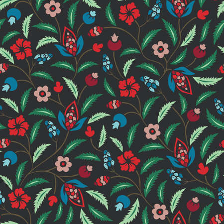 Colorful Traditional Chintz Floral Vector Seamless Pattern. Bright Classic Background Illustration