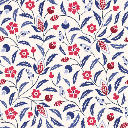 Blue and Red Traditional Chintz Floral Vector Seamless Pattern. Classic Background