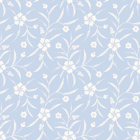 Monochrome Traditional Chintz Floral Vector Seamless Pattern. Classic Background Illustration