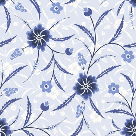 Monochrome Blue Traditional Chintz Floral Vector Seamless Pattern. Classic Background