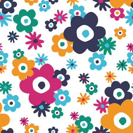 Colourful Retro Graphic Large Scale Daisies Blooms on White Background Vector Seamless Pattern