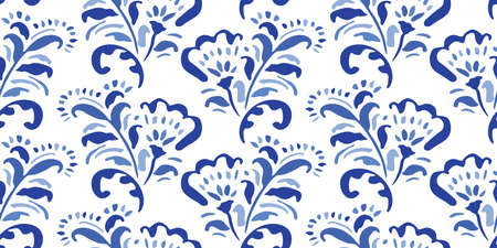 Blue Hand-Drawn Folk Classic Chintz Floral Vector Seamless Pattern on White Background