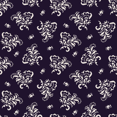 Small Scale White Hand-Drawn Folk Classic Chintz Floral Vector Seamless Pattern on Dark Background