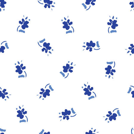 Blue Ditsy Hand-Drawn Folk Classic Daisies Floral Vector Seamless Pattern on White Background