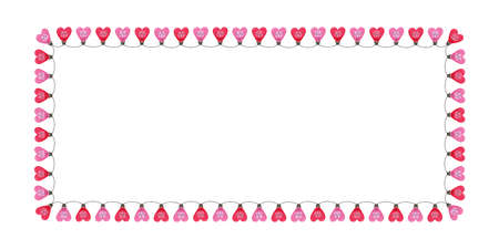 Bright Pink Colorful Valentine's Day Holiday Heart String Lights on White Background Rectangle Horizontal Frame. Square Cute Festive Holiday Copy Space Banner for Greeting Cards and Web