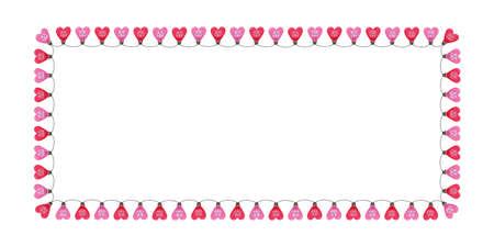 Luces de la secuencia del corazón del día de fiesta del día de San Valentín colorido rosa brillante en el marco horizontal del rectángulo del fondo blanco. Banner de espacio de copia de vacaciones festivas lindo cuadrado para tarjetas de felicitación y web