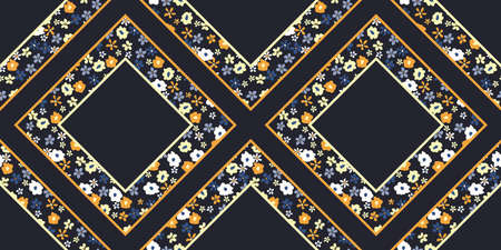 Colorful Ditsy Floral Graphic Daisies And Diamond Shapes on Blac 向量圖像