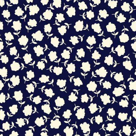 Weiße Ditsy handgezeichnete Gänseblümchen blüht mit Stielen Silhouetten auf dunkelblauem Hintergrund Vektor nahtlose Muster