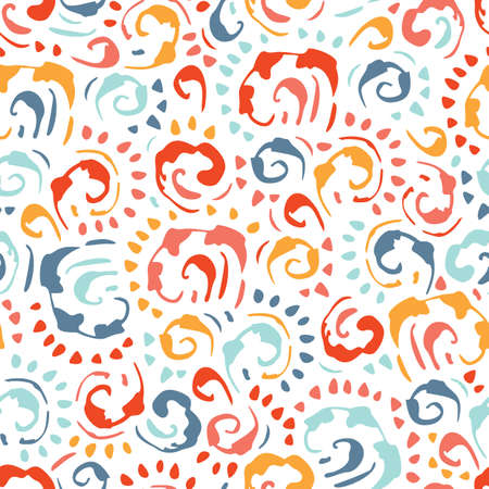 Hand-Drawn Colorful Vintage Swirls Vector Seamless Pattern on White