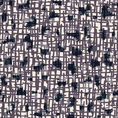 Abstract Hand-Drawn Monochrome Textile Weave Texture Vector Seamless Pattern. Organic Cross Hatch Style Lines and Marks with Overlayed Dark Spots. Grunge Geo Texture Perfect for fashion and home decor