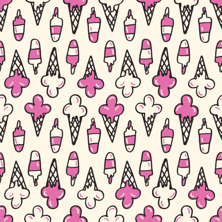 Colorful Hand-Drawn Felt Tip Marker Melting Ice Cream Cones and Scoops on White Background Vector Seamless Pattern. Cute Summer Trendy Kids Print for Fashion, Textiles