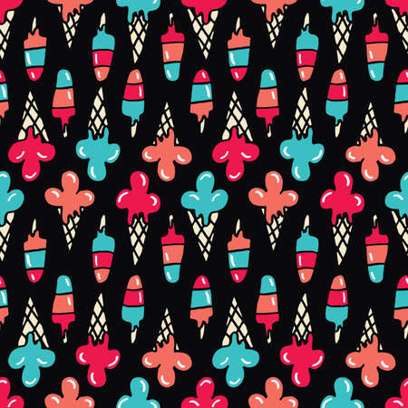 Colorful Hand-Drawn Felt Tip Marker Melting Ice Cream Cones and Scoops on Black Background Vector Seamless Pattern. Cute Summer Trendy Kids Print for Fashion, Textiles