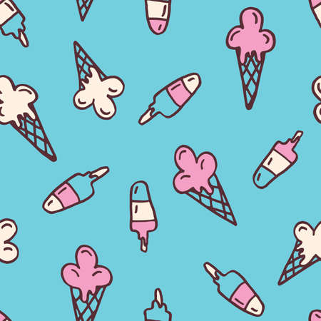 Colorful Hand-Drawn Felt Tip Marker Melting Ice Cream Cones and Scoops on Sky Blue Background Vector Seamless Pattern. Cute Summer Trendy Kids Print for Fashion, Textiles