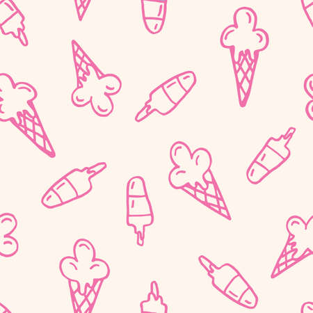 Pink Linework Hand-Drawn Felt Tip Marker Melting Ice Cream Cones and Scoops on White Background Vector Seamless Pattern. Cute Summer Trendy Kids Print for Fashion, Textiles  イラスト・ベクター素材