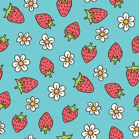 Colorful Hand-Drawn Felt Tip Marker Strawberries and Blooms on Sky Blue Background Vector Seamless Pattern. Cute Summer Trendy Kids Print for Fashion, Textiles  イラスト・ベクター素材