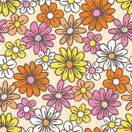 Retro Palette Hand Drawn Felt Tip Pen Daisies on Cream Background Floral Vector Seamless Pattern. Orange Pink Yellow Flowers Design. Bold Large Vintage Blooms Fashion, Textile Trendy Print