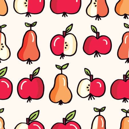 Cute Colorful Hand Drawn Felt Tip Pen Fresh and Juicy Apple and Pears Fruits on White Vector Seamless Pattern. Healthy Food Design. Vintage Cute Fruits Fashion, Textile Packaging Print  イラスト・ベクター素材