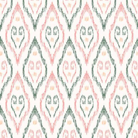 Hand-Drawn Pastel Color Traditional Ikat Boho Damask Diamonds Vector Seamless Pattern. Modern Woven Swirls Geometric Print, Perfect for Textiles, Fashion, Background. Monochrome Tribal Boho Texture